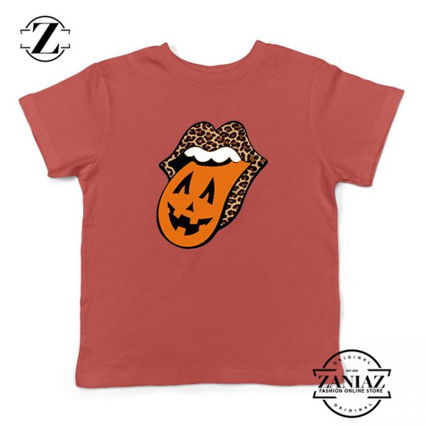 Leopard Pumpkin Mouth Tongue Kids Red Tshirt