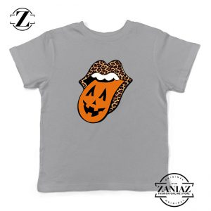 Leopard Pumpkin Mouth Tongue Kids Sport Grey Tshirt