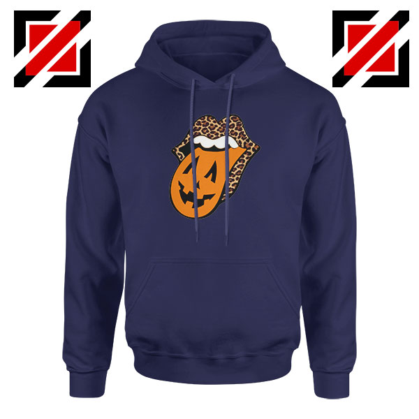 Leopard Pumpkin Mouth Tongue Navy Blue Hoodie
