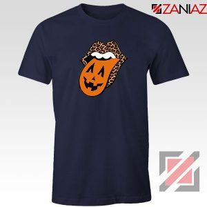 Leopard Pumpkin Mouth Tongue Navy Blue Tshirt
