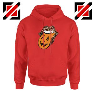 Leopard Pumpkin Mouth Tongue Red Hoodie