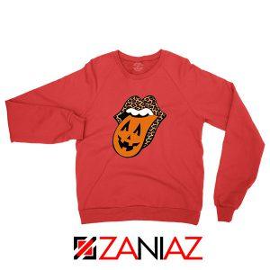 Leopard Pumpkin Mouth Tongue Red Sweatshirt