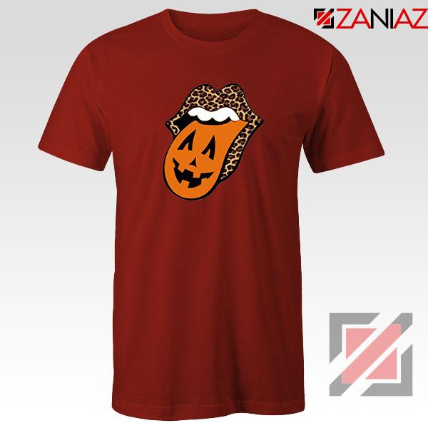 Leopard Pumpkin Mouth Tongue Red Tshirt