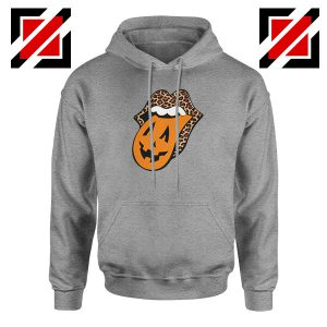 Leopard Pumpkin Mouth Tongue Sport Grey Hoodie