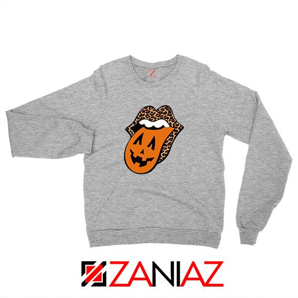 Leopard Pumpkin Mouth Tongue Sport Grey Sweatshirt