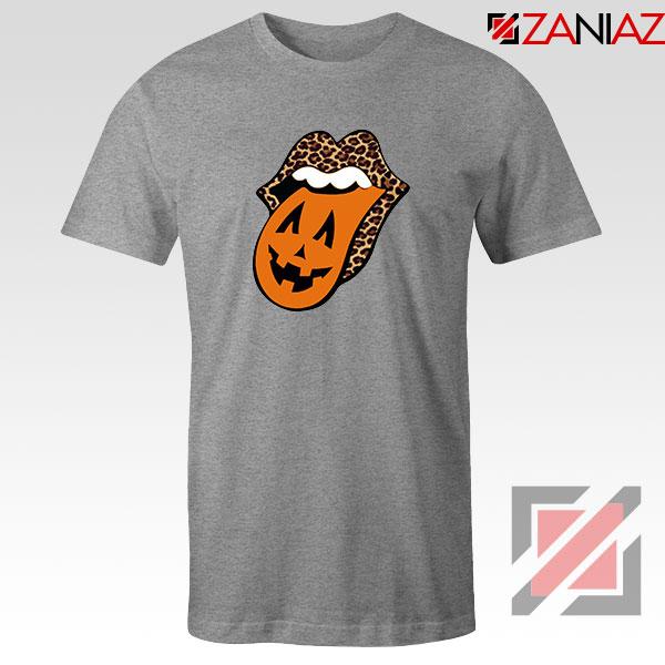 Leopard Pumpkin Mouth Tongue Sport Grey Tshirt