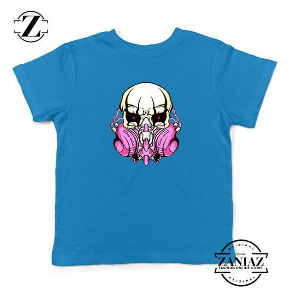 Skull Gas Mask Kids Blue Tshirt