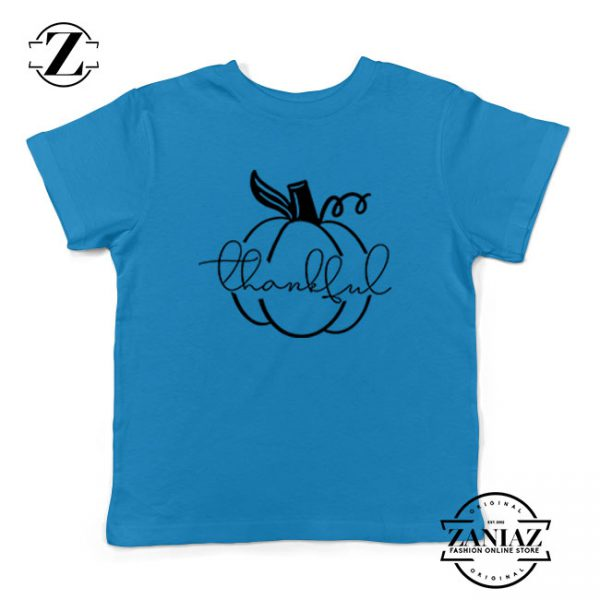 Thankful Pumpkin Kids Blue Tshirt