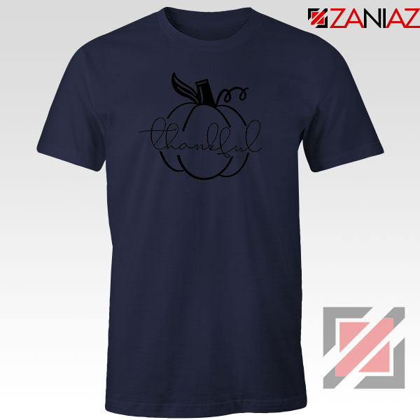 Thankful Pumpkin Navy Blue Tshirt