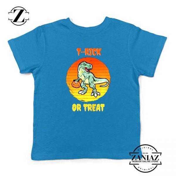 Trick or Treat Trex Kids Blue Tshirt