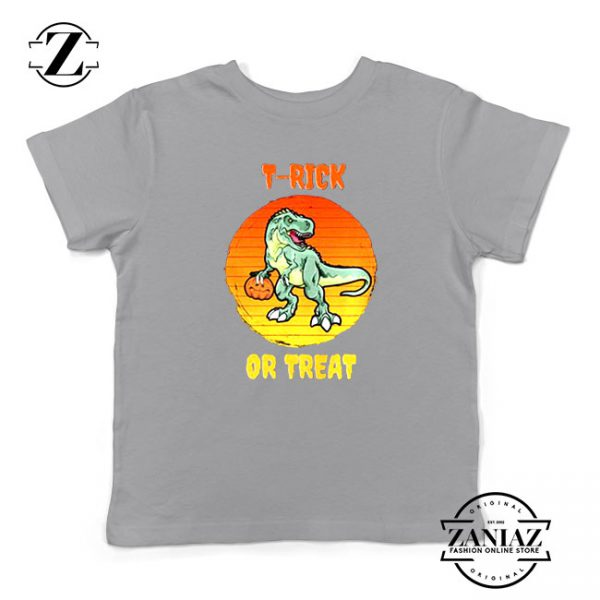Trick or Treat Trex Kids Sport Grey Tshirt