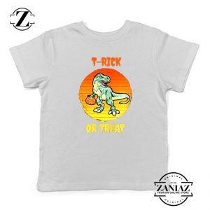 Trick or Treat Trex Kids White Tshirt