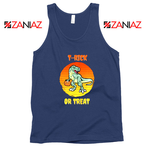 Trick or Treat Trex Navy Blue Tank Top