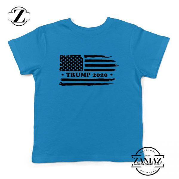 Trump American Flag Kids Blue Tshirt