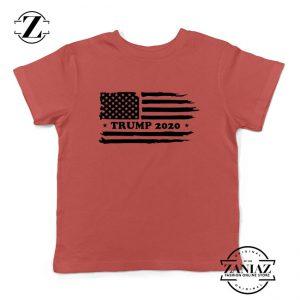 Trump American Flag Kids Red Tshirt