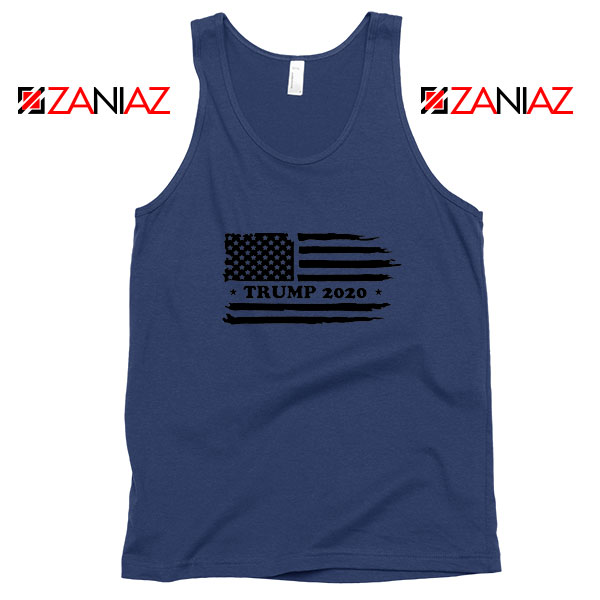 Trump American Flag Navy Blue Tank Top