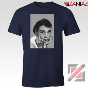 Audrey Hepburn Middle Finger Navy Blue Tshirt
