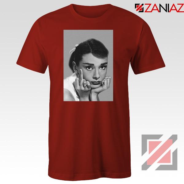 Audrey Hepburn Middle Finger Red Tshirt