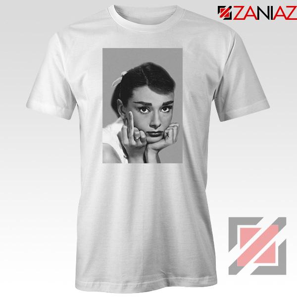 Audrey Hepburn Middle Finger White Tshirt