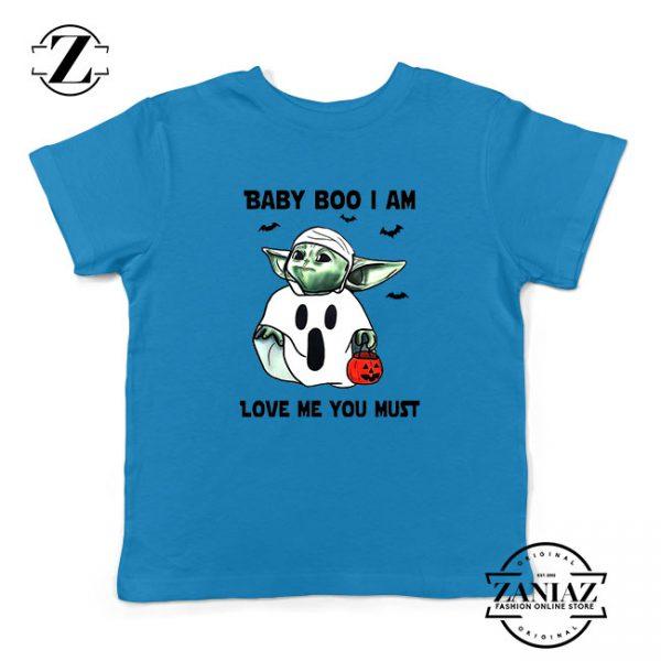 Baby Yoda Boo Kids Blue Tshirt