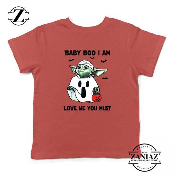 Baby Yoda Boo Kids Red Tshirt