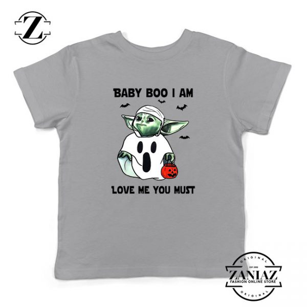 Baby Yoda Boo Kids Sport Grey Tshirt