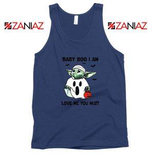 Baby Yoda Boo Navy Blue Tank Top