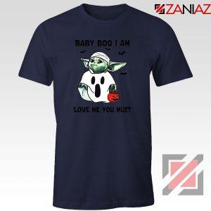 Baby Yoda Boo Navy Blue Tshirt