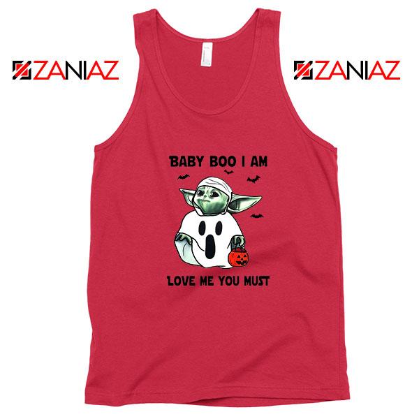 Baby Yoda Boo Red Tank Top