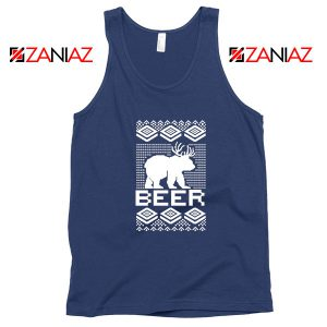 Bear Christmas Navy Blue Tank Top