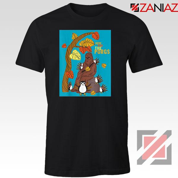 Chewbacca Here For The Porgs Black Tshirt