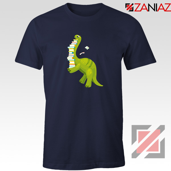 Dinosaur Reading Navy Blue Tshirt