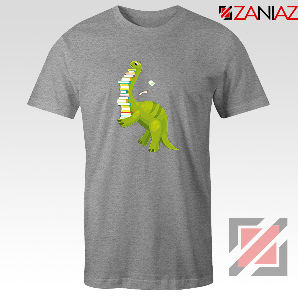 Dinosaur Reading Sport Grey Tshirt