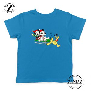 Mickey Minnie Pluto Blue Kids Tshirt