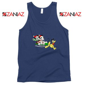 Mickey Minnie Pluto Navy Blue Tank Top