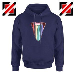 Tongue Rainbow Cute Navy Blue Hoodie