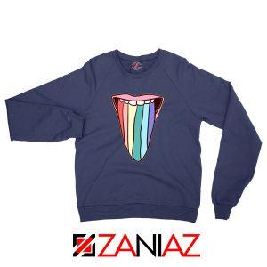 Tongue Rainbow Cute Navy Blue Sweatshirt