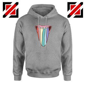 Tongue Rainbow Cute Sport Grey Hoodie