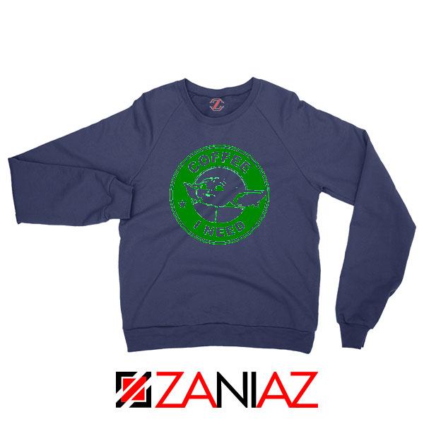 Grogu Need Coffee Navy Blue Sweatshirt