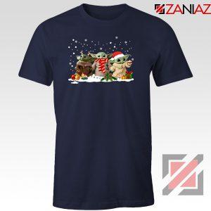 Grogu Snow Christmas Navy Blue Tshirt