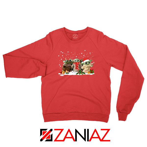 Grogu Snow Christmas Red Sweatshirt