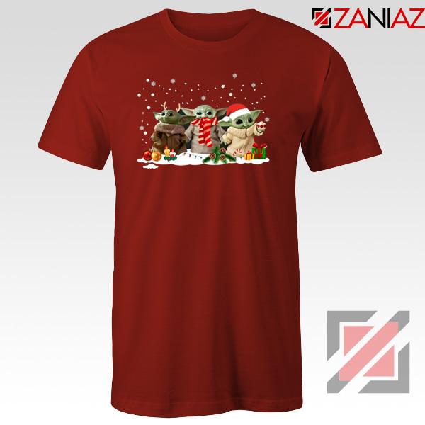 Grogu Snow Christmas Red Tshirt
