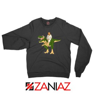 Jesus Riding T Rex Black Sweatshirt