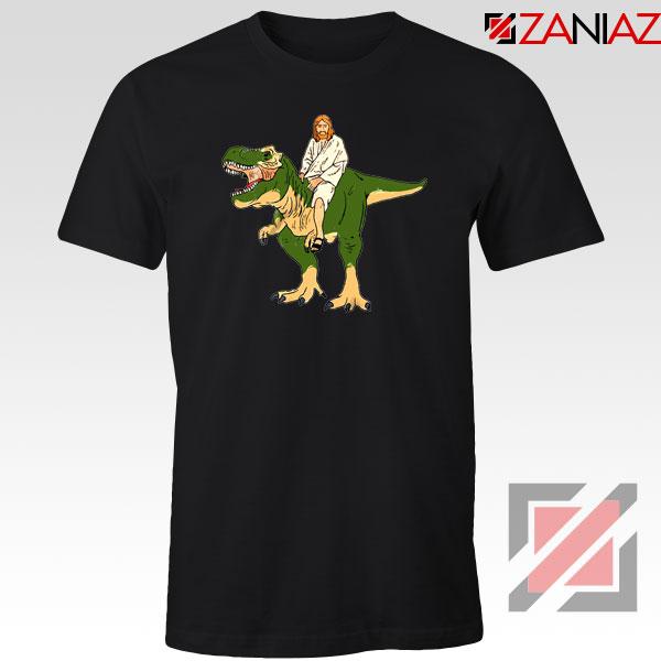 Jesus Riding T Rex Black Tshirt