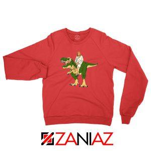 Jesus Riding T Rex Red Sweatshirt