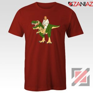 Jesus Riding T Rex Red Tshirt