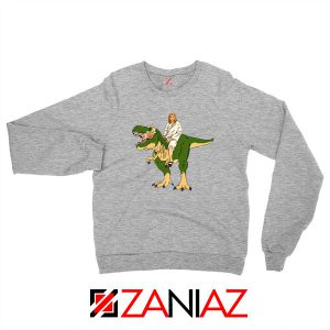 Jesus Riding T Rex Sport Grey Sweatshirt