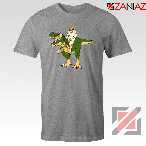 Jesus Riding T Rex Sport Grey Tshirt