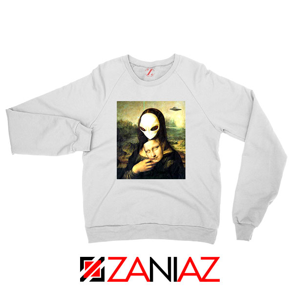 Mona Lisa Alien White Sweatshirt