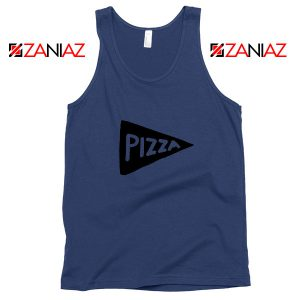 Pizza Graphic Navy Blue Tank Top